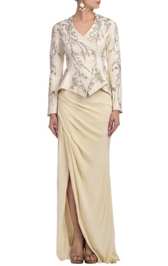 Ivory embroidered jacket with draped skirt