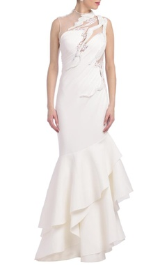 Ivory ruffled embellished gown