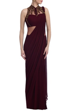 wine & gold embellished sari gown