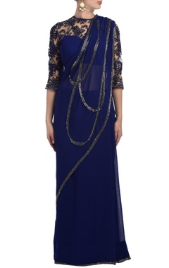 deep blue floral lace embellished sari gown