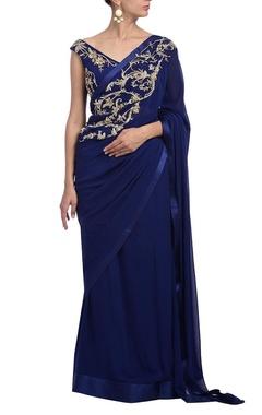 Deep blue floral embellished sari