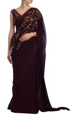 Wine & gold floral embellished sari