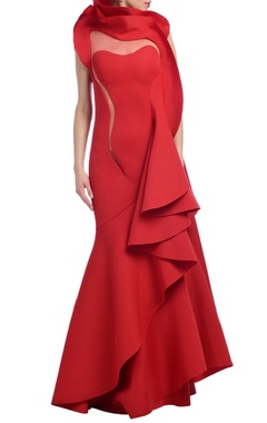 Red ruffled gown