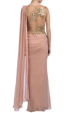 Peachy pink & gold embellished sari gown