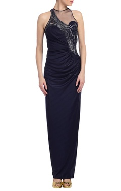 Deep blue embellished gown