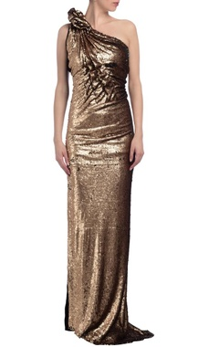 Gold & black sequin embellished one shoulder gown