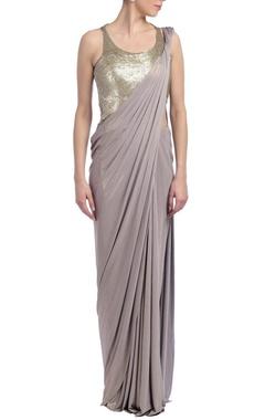 Gaurav Gupta Grey embellished sari gown