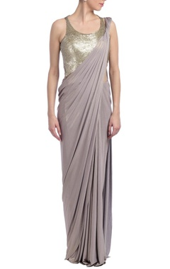 Grey embellished sari gown