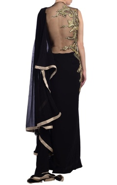 black sari gown with embroidery