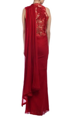 scarlet red embroidered sari gown