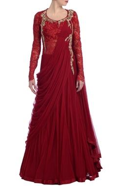 Scarlet embroidered sari lehenga