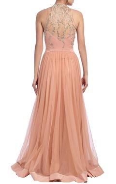 peachy pink embellished kurta set