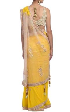 Yellow & peach embellished sari