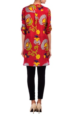 red floral motif printed tunic