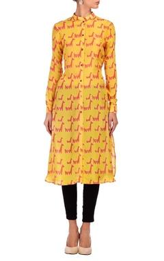 yellow & coral animal printed tunic