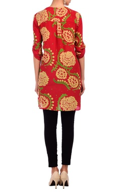 Red & pale yellow floral printed tunic