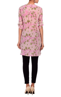 Baby pink & pale brown floral printed tunic