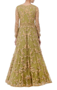 olive green & gold floral embroidered anarkali set