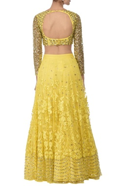 Sunshine yellow sequin floral embroidered lehenga set