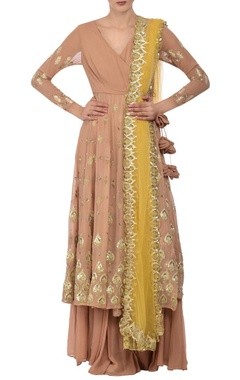 Astha Narang Beige & soft yellow embroidered palazzo set