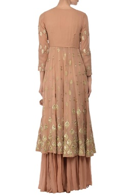 Beige & soft yellow embroidered palazzo set