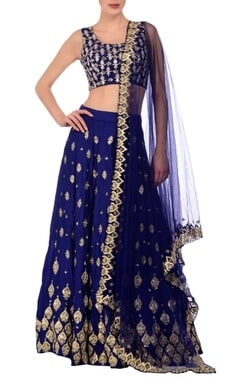 Royal blue & silver motif embroidered lehenga set