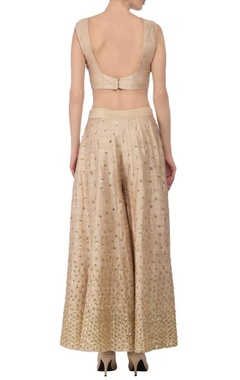 Soft beige & gold sequin embellished palazzo set