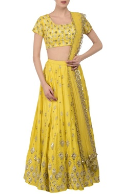 Lemon yellow & silver embroidered lehenga set