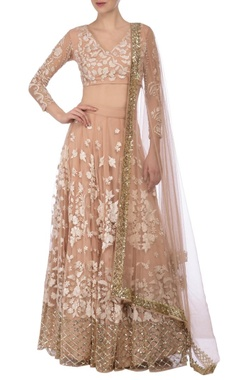 Nude & ivory floral embroidered lehenga set