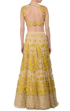 Pale beige & yellow floral embroidered lehenga set