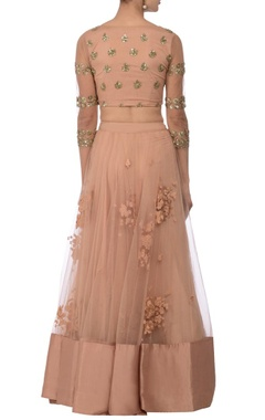 Blush pink floral sequin embellished lehenga set