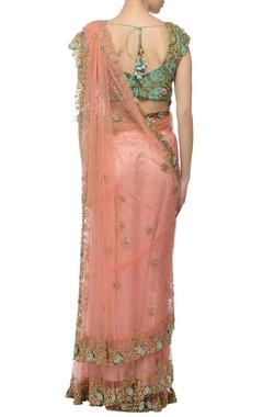Peachy pink & mint floral embroidered lehenga sari