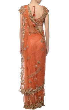 Orange tiered embellished lehenga sari