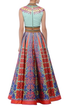 An aqua embroidered crop top & printed skirt