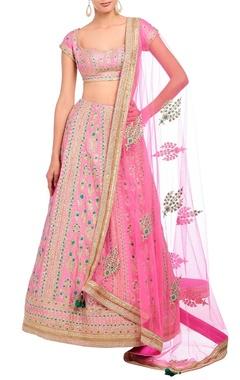 carnation pink embroidered lehenga set