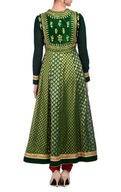 Green & gold embroidered anarkali set