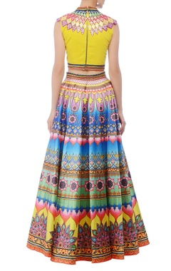 Yellow & multcolored lehenga set