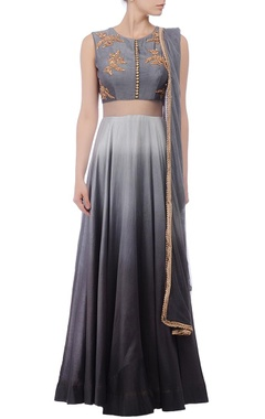 Grey shaded & gold embroidered anarkali set