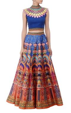Deep blue & multicolored lehenga set