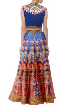 deep blue & multicolored lehenga set