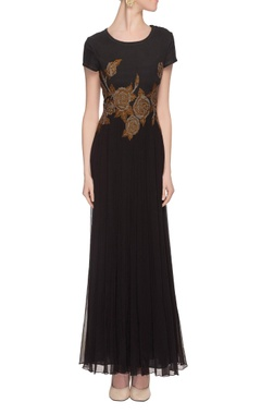 black embroidered gown with beadwork