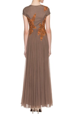 taupe embroidered gown with beadwork