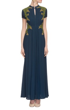 navy blue threadwork embroidered gown