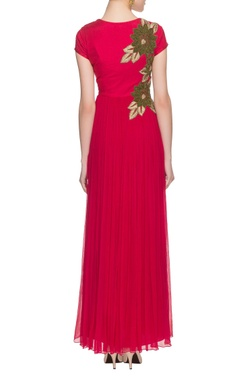 hot pink threadwork embroidered gown