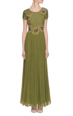 olive green embroidered & embellished gown