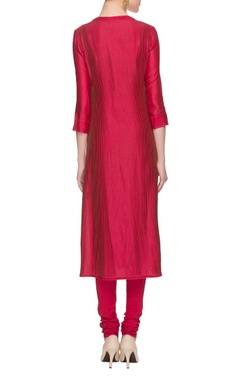 hot pink & olive green printed kurta set