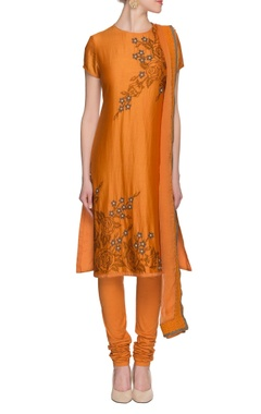 mustard embroidered silk kurta set