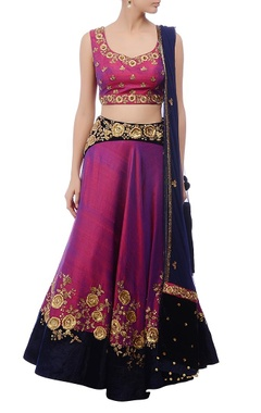 Violet & gold zardozi embroidered lehenga set