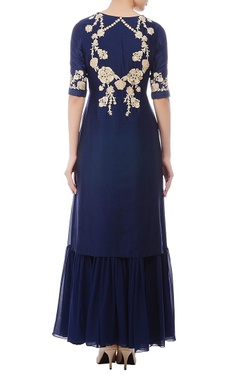 Deep blue & gold floral embroidered kurta set