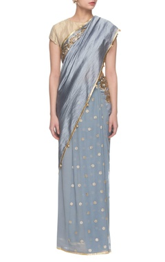 Grey sequin embellished sari